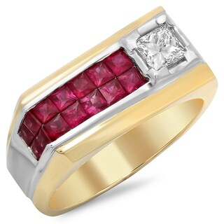 14k Gold Men's 1/2 ct TDW White Diamond and 1 3/5 Invisible-set Ruby Ring (F-G, SI1-SI2)