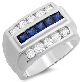 14k White Gold Men's 1 1/10ct TDW White Diamond and Channel-set Sapphire Ring (F-G, SI1-SI2)