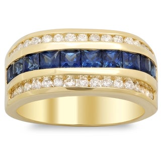 14k Yellow Gold Men's 1 ct TDW White Diamond and 2 1/2 ct Channel-set Sapphire Ring (F-G, SI1-SI2)