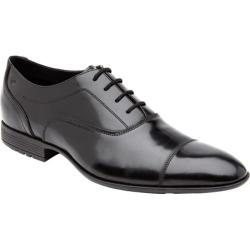 Men's Rockport Dialed In Captoe Black Brushoff Leather