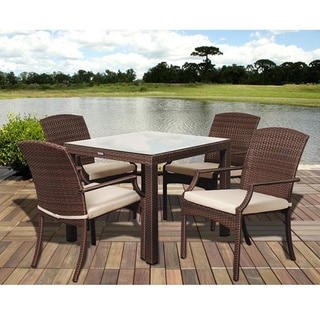 Atlantic Jersey 5-piece Brown Wicker Square Dining Set with Off-white Cushions