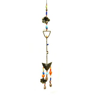 Hand Made with Hand Blown Decorative Glass Beads 'Lets Garden' Shovel Wind Chime (India)