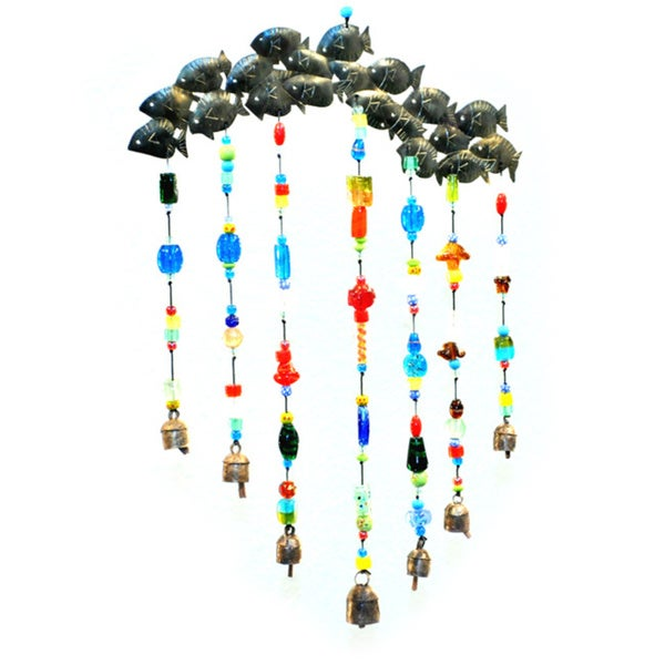 Handmade 'Just Keep Swimming' Fish School Wind Chime (India)