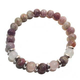 Ultra Feminine Pink Tourmaline/ Moonstone and Rose Quartz Bracelet