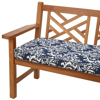 Deep Blue Damask 48-inch Indoor/ Outdoor Corded Bench Cushion