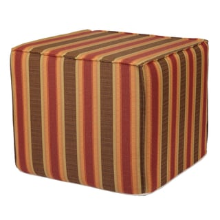 Brooklyn Autumn Stripe 22-inch Indoor/ Outdoor Corded Ottoman with Sunbrella Fabric