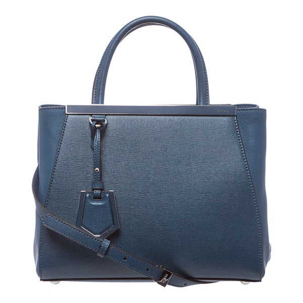 Fendi '2Jours' Petite Blue Leather Shopper Bag