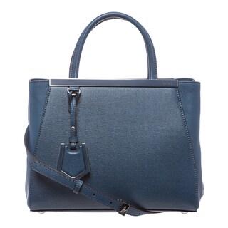 Fendi '2Jours' Petite Blue Leather Shopper Bag