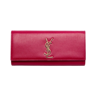 Saint Laurent Fuchsia Patent Leather Classic Monogramme Clutch