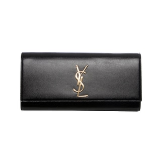 Saint Laurent Black Patent Leather Classic Monogramme Clutch