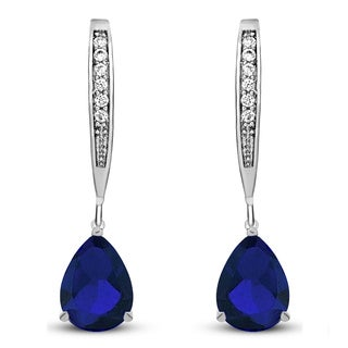 Collette Z Sterling Silver Blue Cubic Zirconia Pear-shape Dangling Earrings
