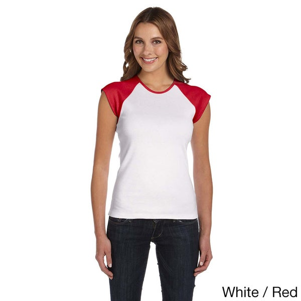 Bella Women's Contrast Cap-sleeve Raglan T-Shirt