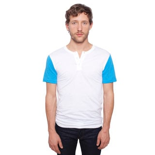American Apparel Men's White and Blue Short Sleeve Henley Tee