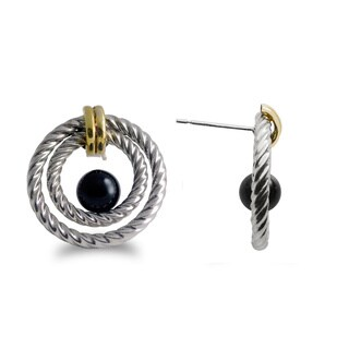 Gems For You Gold over Silver Black Onyx Double Hoop Stud Earrings