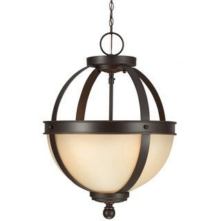Sfera 2-light Semi-flush Convertible Autumn Bronze Pendant with Cafe Tint Glass
