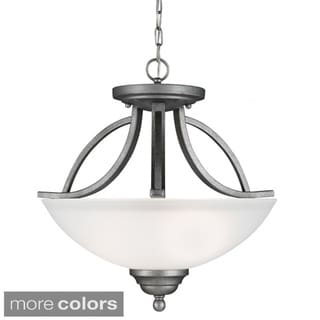 Vitelli 2-light Semi-flush Convertible Pendant with Satin Etched Glass
