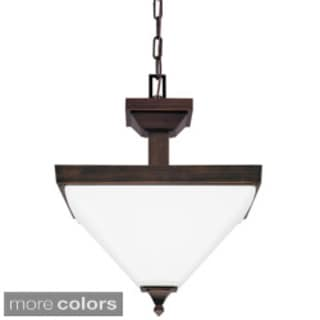 Denhelm 2-light Semi-flush Convertible Pendant with Etched Glass