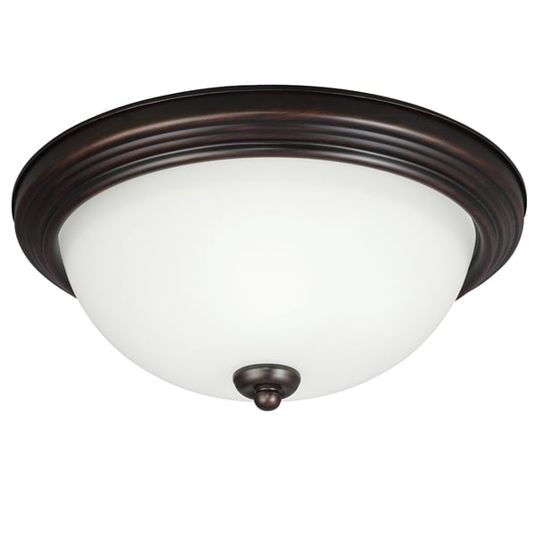 2-light Burnt Sienna Ceiling Flush Mount