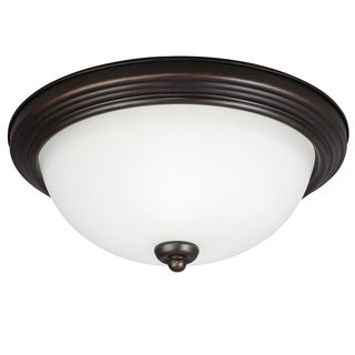 1-light Burnt Sienna Ceiling Flush Mount with Amber Scavo Glass
