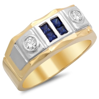 14k Two-tone Gold Men's 1/4ct TDW Diamond and Sapphire Ring (F-G, SI1-SI2)