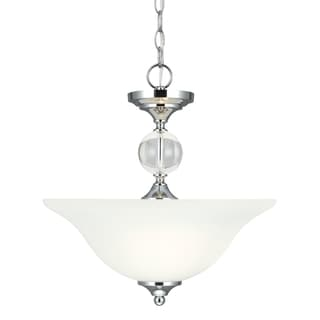 Englehorn 2-light Semi-flush Convertible Chrome Pendant with Etched Glass