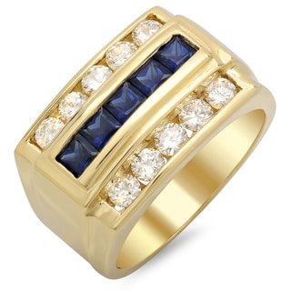 14k Yellow Gold Men's 1ct TDW Round White Diamond and Sapphire Ring (F-G, SI1-SI2)