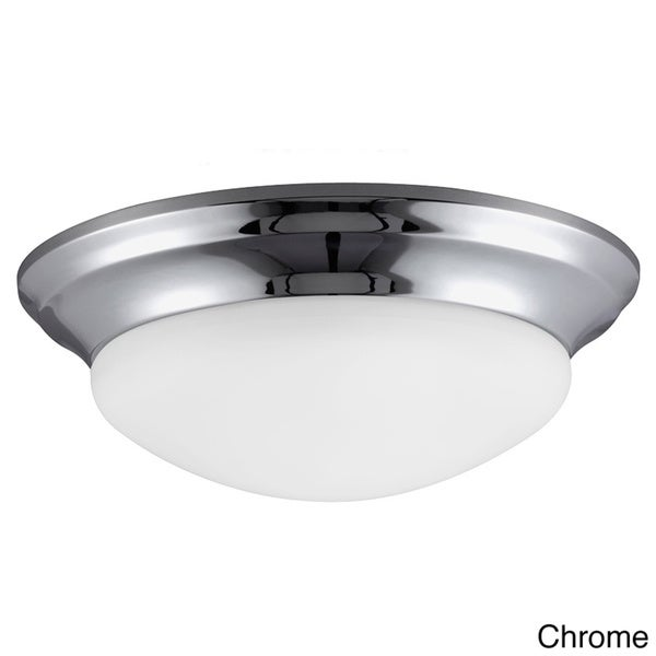 2-light Fluorescent Flush Ceiling Fixture with Satin Etched Glass