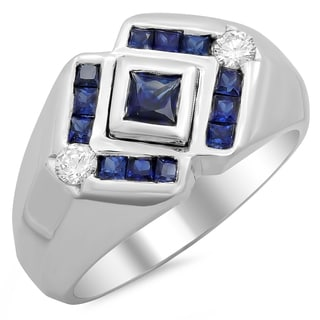 14k White Gold Men's 1/4ct TDW White Diamond and Sapphire Ring (F-G, SI1-SI2)
