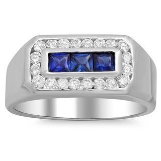 14k White Gold Men's 1/2ct TDW White Diamond and Sapphire Ring (F-G, SI1-SI2)