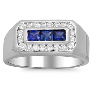 14k White Gold Men's 1/2 ct TDW White Diamond and 3/5 ct Sapphire Ring (F-G, SI1-SI2)