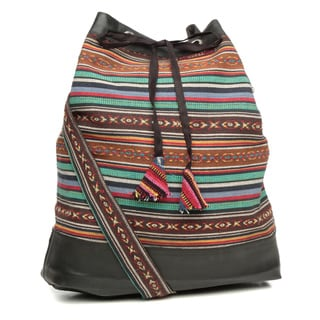 Handmade Recycled Rubber/ Multicolored Cotton Shoulder Bag (Nepal)