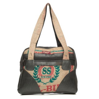 Recycled Rubber and Rice Bag Jute Boho Briefcase (Nepal)