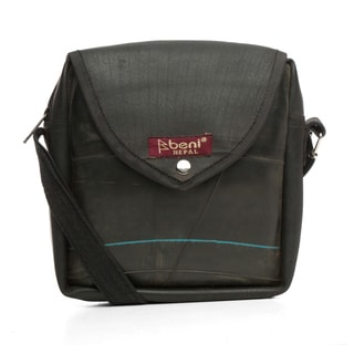 Handmade Black Recycled Rubber Shoulder Bag (Nepal)