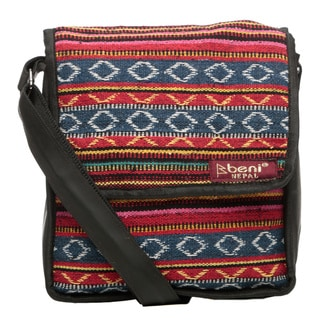 Colorful Nepali Cotton and Recycled Rubber Gusset Shoulder Bag (Nepal)