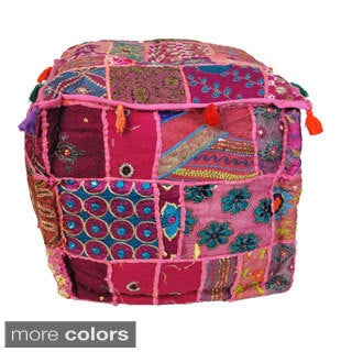 Handmade Bohemian Patchwork Pouf (India)