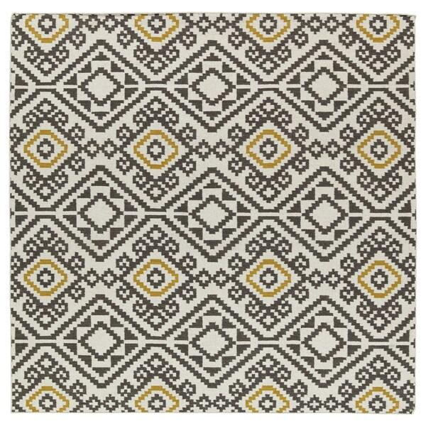 Flatweave TriBeCa Grey Motif Square Wool Rug (8')