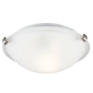 Fluorescent 1-light Brushed Nickel Ceiling Flush Mount