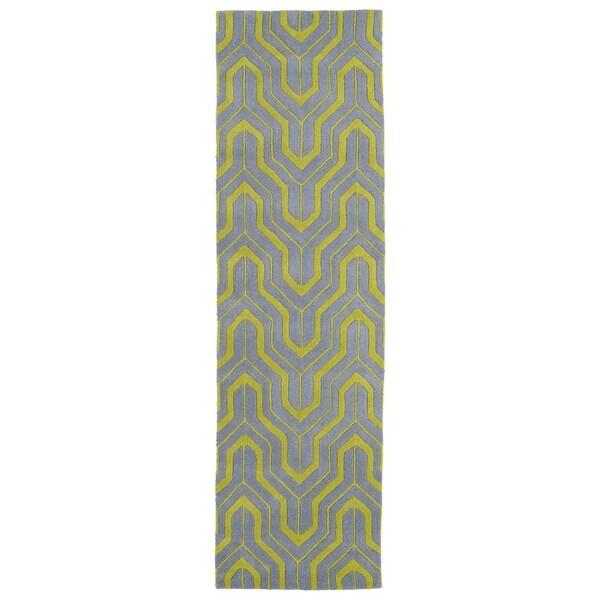 Cosmopolitan Grey/ Wasabi Hand-tufted Wool Rug (2'3 x 8') - 2'3 x 8' 12745630