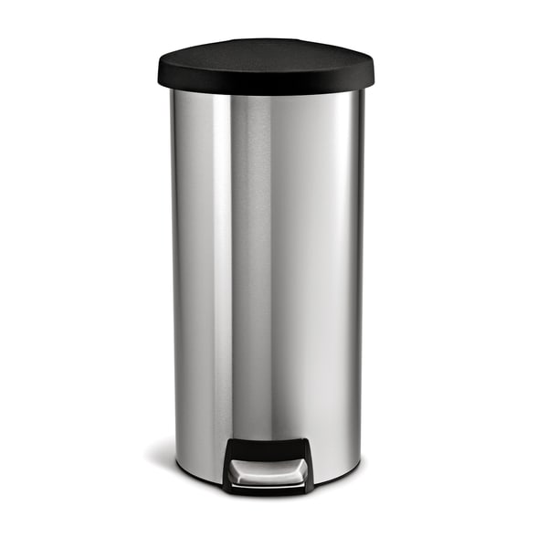 simplehuman Stainless Steel Plastic Lid Round Step Can