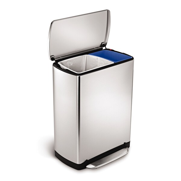 simplehuman 46 liter wide step rectangular recycler step can. Black Bedroom Furniture Sets. Home Design Ideas