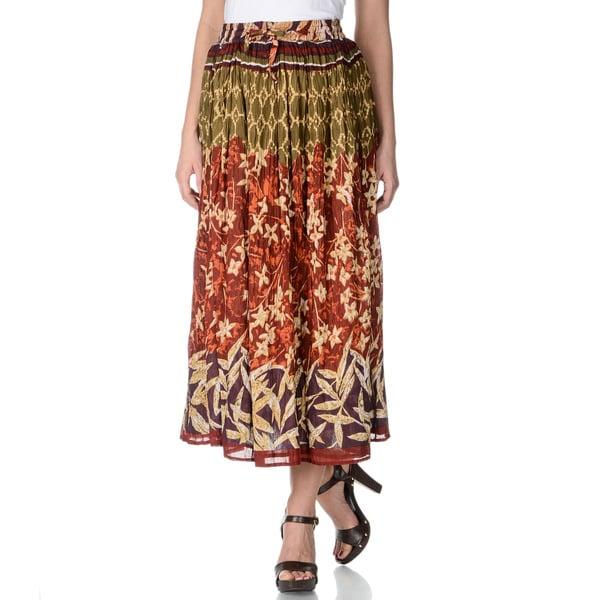 La Cera Women's Floral Printed Crinkle Skirt