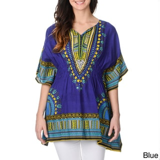 La Cera Women's Abstract Print Kimono Shirt