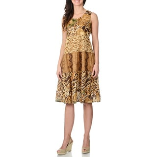 La Cera Women's Animal Print Tank Dress