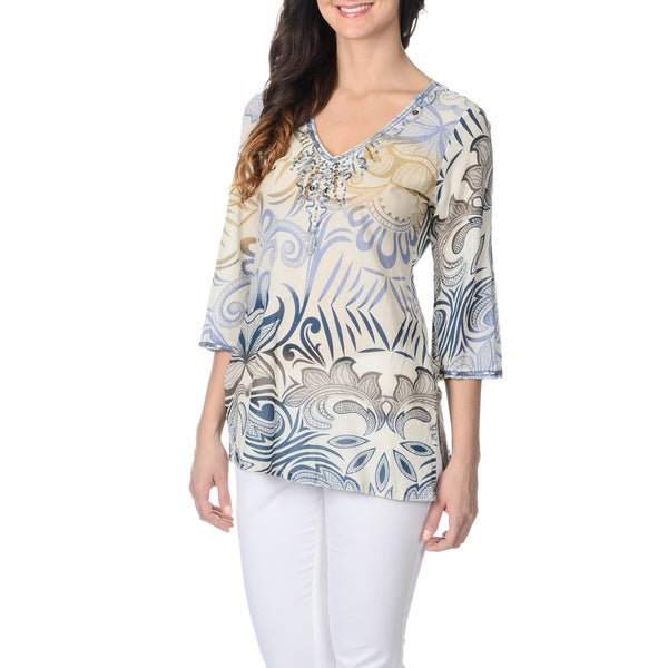 La Cera Women's Embellished Neck Floral Tunic Top