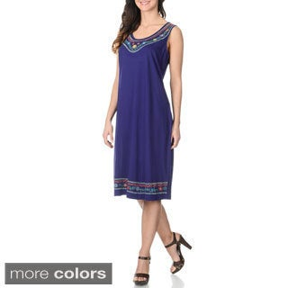 La Cera Women's Embroidered Knee-length Tank Dress