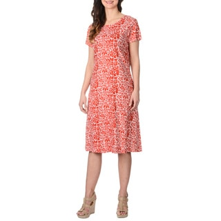 La Cera Women's Red Floral Pattern Dress
