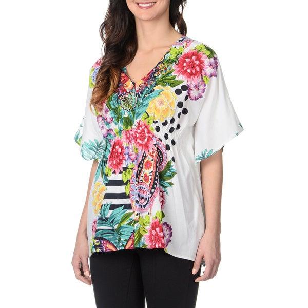 La Cera Women's Floral Print Kimono Top