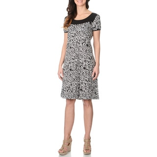 La Cera Women's Black Floral Print Short-sleeve Dress