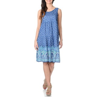 La Cera Women's Blue Floral Print A-line Tank Dress