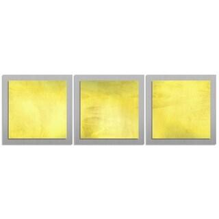 Contemporary 'Yellow Essence' Layered Metal Wall Art